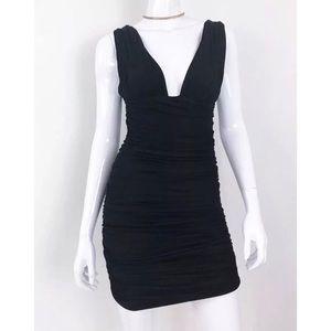 Balmain ruched deep-v jersey dress size 36/2